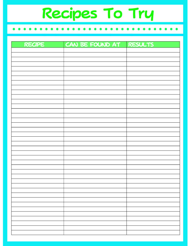 printable recipes planner try grocery calendar pages