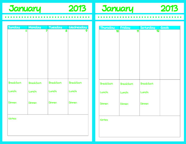 2013 planner with calendar printable ruminations and for Day at a glance calendar template