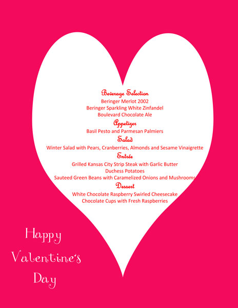 Valentine-Menu-Card